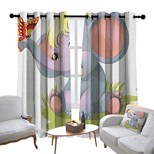 Customized Curtains Elephant Nursery,Newborn Animal Funny Mascot