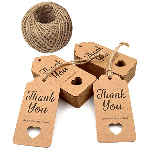 Gift Tags,Baby Shower Tags,Hollow Heart Thank You for Celebrating with Us Tags,100 Pcs Kraft Thank You Tags for Wedding Party Favors Thanksgiving with 100 Feet Natural Jute Twine ()