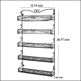 3S Wall Mounted Spice Rack Storage Hanging Spice Shelf Organizer,5 Tier Black.