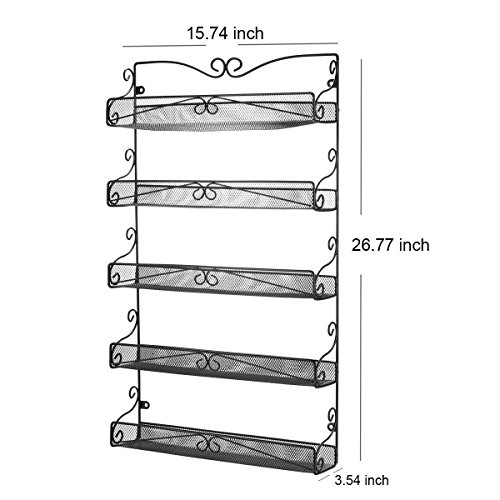 3S Wall Mounted Spice Rack Storage Hanging Spice Shelf Organizer,5 Tier Black.