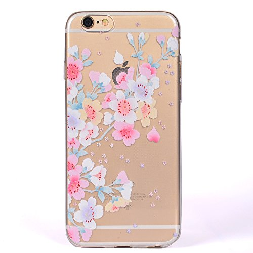 iPhone 6 / 6S Plus Hülle , Leiai Kirschblüte TPU Transparent Weich Tasche Schutzhülle Silikon Handyhülle Stoßdämpfende Clear Schale Fall Case Shell für Apple iPhone 6 / 6S Plus