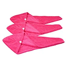 HOPESHINE Women's Soft Shower Hair Towel Twist Hair Turban Wrap Drying Cap Great Gift for Women (Rose Red 3-pack)