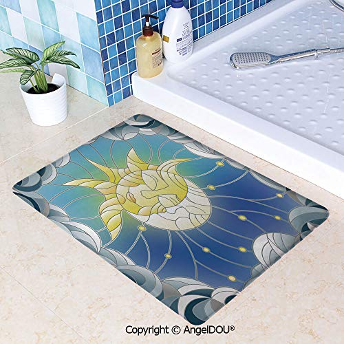 (SCOXIXI Living Room Bedroom Carpet Thicken Non-Slip Mat Stained Glass Style Illustration of Interweaving Sun and Moon in Sky Romantic Decorative for Home Hotel Cafe Restaurant are W23.6xL35.4(inch))