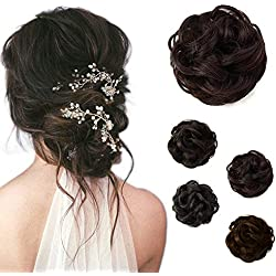 Beauty Angelbella Hair Bun Extension Synthetic Ponytail Wavy Curly Messy Hair Pieces Hairpiece for Women (2-33#)