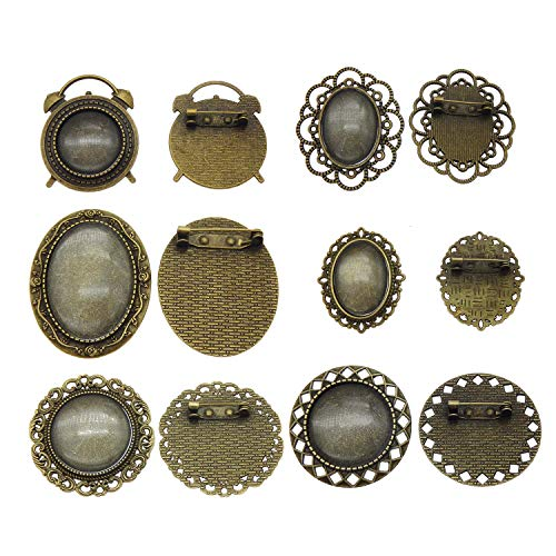 Julie Wang 6 Sets Mixed Assorted Pin Brooch Bezel Blanks Bronze Setting Pendant with Matching Glass Cabochons