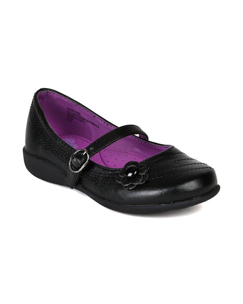 Leatherette Flower Decor Mary Jane Strap School Uniform Shoes (Toddler/Little Girl/Big Girl) AI92 - Black (Size: Little Kid 13)