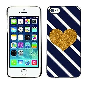 [Neutron-Star] Snap-on Series Teléfono Carcasa Funda Case Caso para iPhone 5 / 5S [Corazón Diagonal Negro White Stripes]