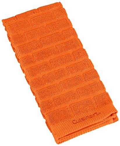 best Cuisinart 100% Cotton Terry Super Absorbent Kitchen Towel, Sculpted Subway Tile, Orange