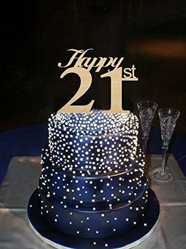 Amazon Happy 21st Wedding Cake Toppers Rustic Anniversary Topper Birthday For Decorations Handmade