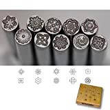 Kent Precision Design Metal Punch Stamps 10-Pieces Set, Size 5.0mm Various Floral Shapes