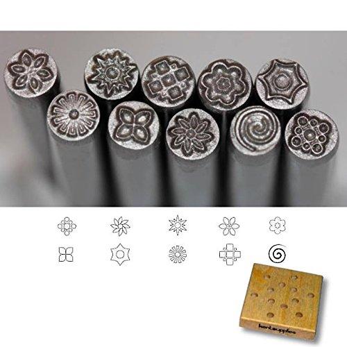 Kent Precision Design Metal Punch Stamps 10-Pieces Set, Size 5.0mm Various Floral Shapes by Kent Blades
