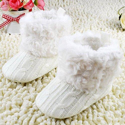 SODIAL(R) Enfant Bebe Crochet / Tricot Bottes Polaires Petits Filles Laine Neige Crib Chaussures Bottines Blanc Taille S (0-6 mois)