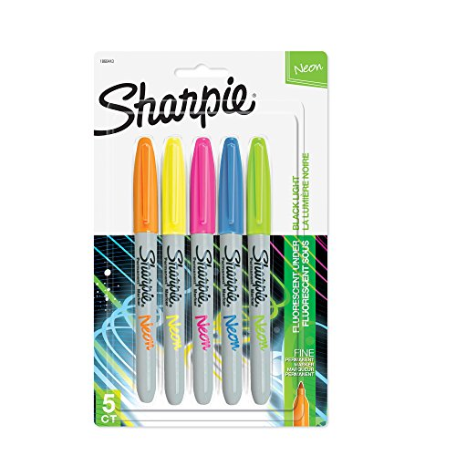 Sharpie 1860443 Neon Permanent Markers, Fine Point, Assorted Colors, 5 Count