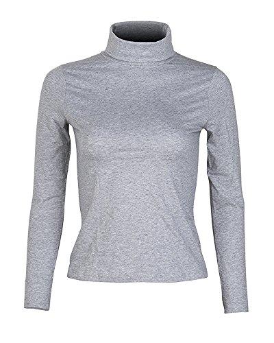 KalvonFu Women's Cotton Warm Basic Slim Fit Long Sleeve Turtleneck T-Shirt (S, - S/s Cotton Gray T-shirt