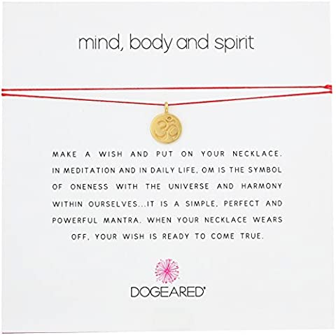 Dogeared Mind, Body, and Spirit, Gold Om Symbol Necklace, 16