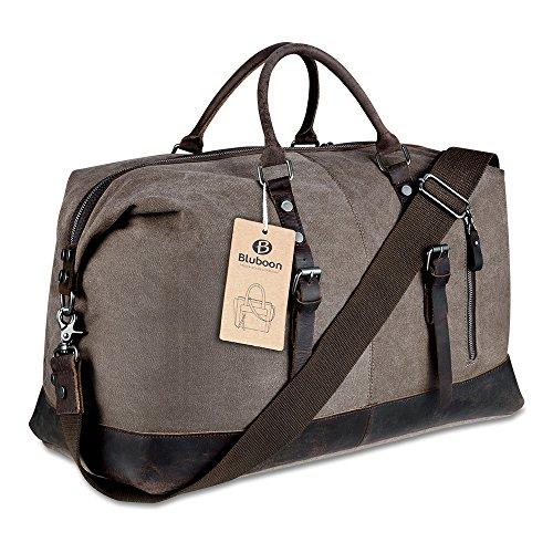 Weekender Vintage Reisetaschen Leder Segeltuch Herren Damen (Kaffee)