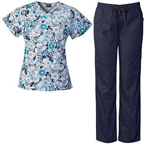 84cc4eb5e4f Medgear Women's Scrubs Set Multi-Pocket Top & Pants, Medical Uniform CFRA