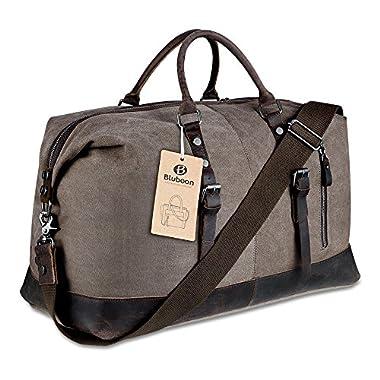 BLUBOON Travel Duffel Bag Canvas Leather Overnight Bag (Coffee)
