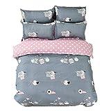 Bed Set 4pcs Kids Beddingset Duvet Cover Set Duvet Cover No Comforter Flat Bedsheet Pillowcase Twin Set Size 59'x79' Spotted Dog Naught Pig Design for Kids Adults Teens Sheet Sets (Twin, Naughty Pig)