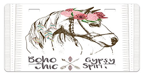 (Lunarable Animal License Plate, Boho Horse Head Sketch with Flowers Colorful Feathers Gypsy Spirit, High Gloss Aluminum Novelty Plate, 5.88