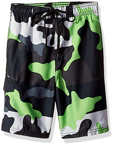 Kanu Surf Little Boys' Viper Quick Dry Beach Swim Trunk, Surf Camo Black/Green, Medium (5/6)