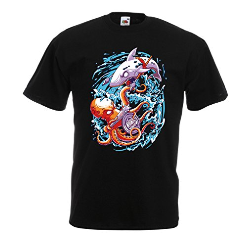 T Shirts For Men Battle In The Ocean - Octopus Vs Shark - To Rule The Seas, Marine Outfits (Large Black Multi - Nerd For Outfit Guys Ideas