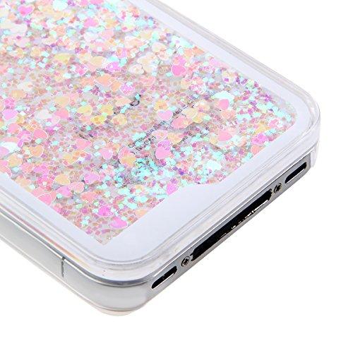 Schutzhülle für iPhone 4, Nsstar® Hard Plastic Handyhülle Transparent Clear Cystal Case Glitter Flowing Bling Sterns und Sparkles Shinny Attraktiv Hart Hülle Etui Schale für iPhone 4/4s (Pink und blau
