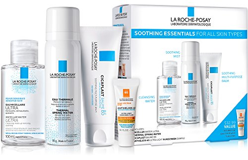La Roche-Posay Soothing Essentials Skin Care Gift Set with Cicaplast Baume B5, Thermal Spring Water & Micellar Cleansing Water Ultra