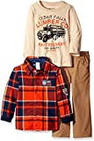 BoyzWear Little Boys' Toddler' 3 Piece Button Down Shirt Long Sleeve Tee and Pant Set, Red, 3T