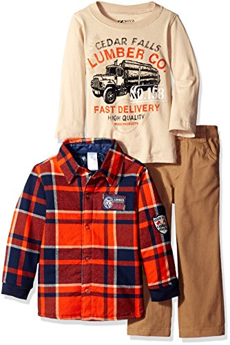BoyzWear Little Boys' Toddler' 3 Piece Button Down Shirt Long Sleeve Tee and Pant Set, Red, 3T by BoyzWear