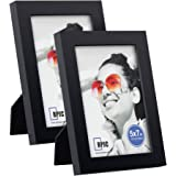 RPJC 5x7 inch Picture Frame(2pk) Made of Solid Wood High Definition Glass for Table Top Display and Wall Mounting Photo Frame Black