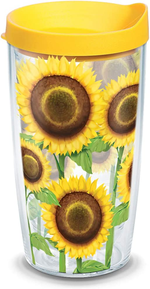 Tervis Sunflowers Tumbler with Wrap and Yellow Lid 16oz, Clear
