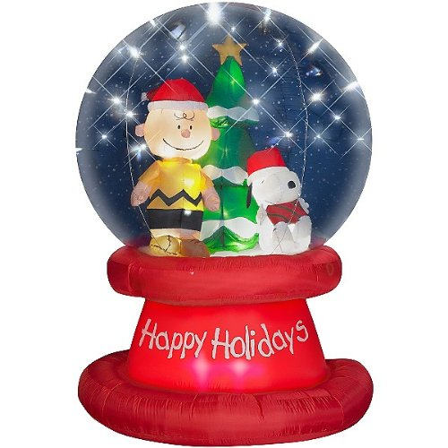 amazoncom 6 peanuts snoopy christmas airblown inflatable happy holidays globe with led lights charlie brown gemmy everything else
