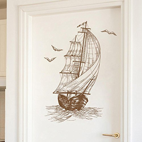 BIBITIME Ocean Travel Ship Vintage Sailboat Wall Decal Kids Room Decor Nursery Bedroom Seagull Vinyl Sticker for Living Room Porch Door PVC Home Art Mural