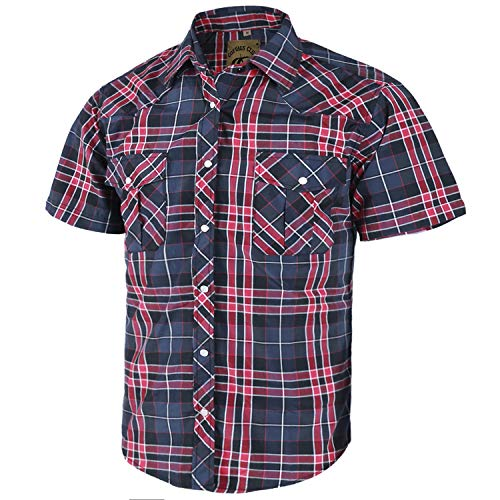 Coevals Club Men's Short Sleeve Casual Western Plaid Snap Buttons Shirt (2XL, 12#Red,Black)