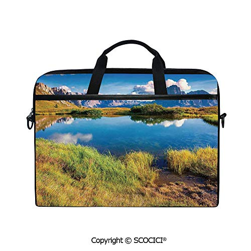 Durable Waterproof Printed Laptop Shoulderr Bag Summer Sunny Morning on The Sassolungo Langkofel and Sella Group Valley Gardena Computer Briefcases for 15 inch