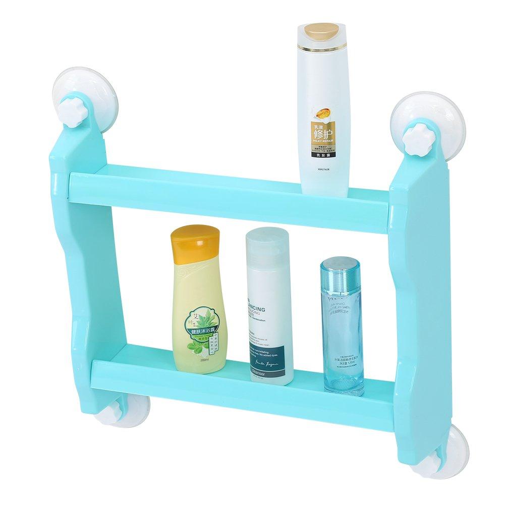 Farbe optional Blau Zerone Wandablage Duschregal K/üchenregal Badregal Saugnapf Badezimmer Regal 2 F/ächer