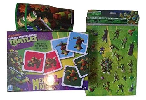 Teenage Mutant Ninja Turtles Bundle 1 Memory Game 72 Memory Match Cards Instruction Manual Plastic Tray Holder 2 Plastic Drink Cups 24 TMNT Pop Up Stickers Leonardo Michelangelo Donatello Raphael