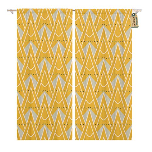 Golee Window Curtain 1930S Geometric Pattern in Mustard Yellow Colors Vintage Home Decor Rod Pocket Drapes 2 Panels Curtain 104 x 96 inches