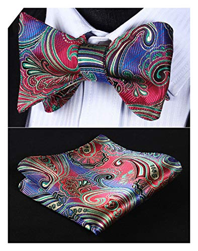Woven Mens Bowties - Enmain Men's Paisley Floral Bowtie Jacquard Woven Party Self Bow Tie Set Red/Green