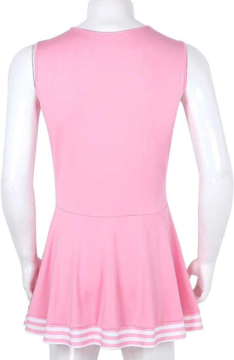 CHICTRY Hommes Sissy Charmante Pom-Pom Girl Cosplay Costume Robe Scoop Neck sans Manches Pliss/ée Fantaisie Robe Courte
