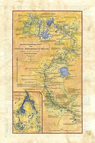 Great River Arts Pikes of The Upper Mississippi River Map Wall Art Print Vintage (11x17 Inches Gift - Wall Mississippi Map