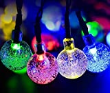 Easest Solar String Lights - 20 feet Long Outdoor Waterproof LED Lights Crystal Ball Rope Lights for Christmas - Garden - Home - Party - Patio - Tree - Wedding - Yard Decorations(6m - 30 LEDs - Globe - Multi Color)