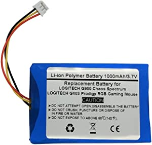 1000mAh/3.7V Replacement Battery for LOGITECH G900 Chaos Spectrum and G403 Prodigy RGB Gaming Mouse,533-000130