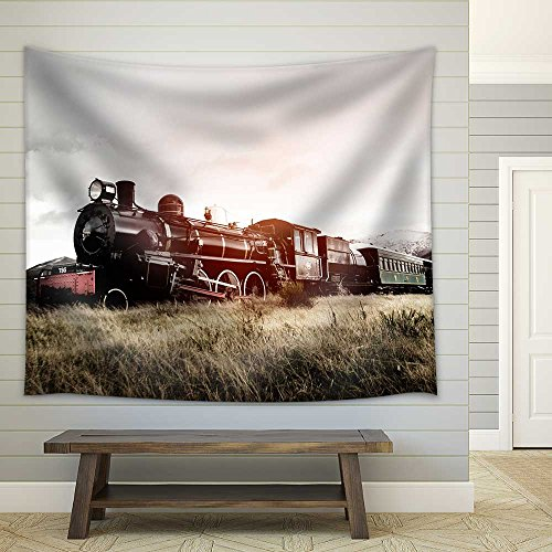 Steam Train In A Open Countryside Transportation Concept Fabric Wall Tapestry