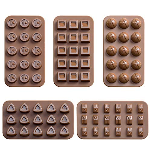 Aokinle Silicone Chocolate Molds,Candy Molds-5 Pack,Mini Baking Molds Non Stick,Ice Cube Tray,BPA Free Candy Making Mold