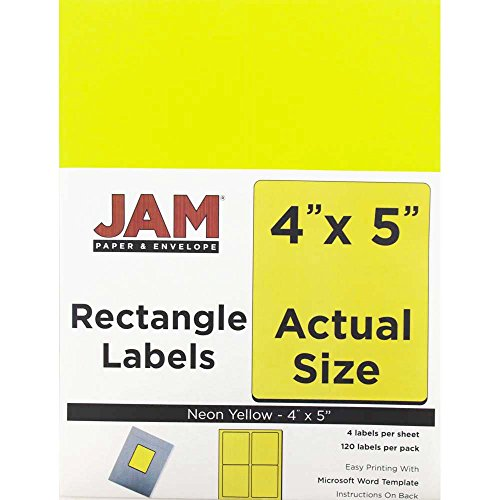 JAM PAPER Shipping Address Labels - Extra Large - 4 x 5 - Neon Yellow - 4 Labels per Page/120 Labels Total