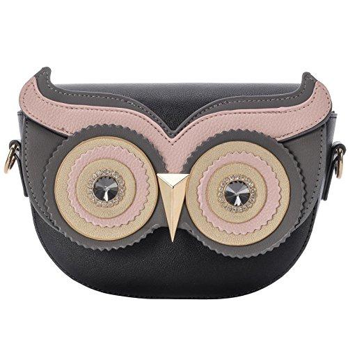QZUnique Women's PU Gold Metal Strap Owl Satchel Cross Body Shoulder Bag Tote Handbag Cute Purse Black
