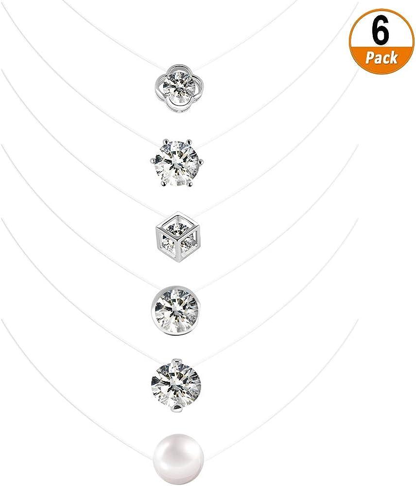 Collar de Cadena de Nylon Transparente 6 PCS Cadena Ajustada con Circonita Cúbica de Piedra Flotante Para Mujer Niña 6mm 8mm 10mm Colgante