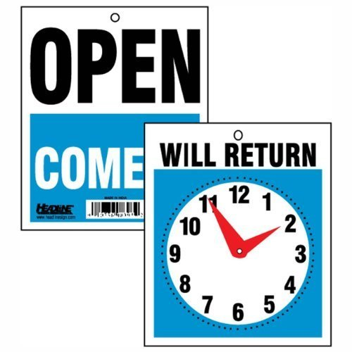 Come Sign - 3 - U. S. Stamp and Sign Come In/open or Will Return Plastic Flip Sign with Clock Hands, 7.5 X 9 Inches (9382)